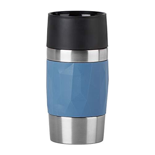 Emsa N2160200 Travel Mug Compact Thermo-/Isolierbecher aus Edelstahl | 0,3 Liter | 3h heiß | 6h kalt | BPA-Frei | 100% dicht | auslaufsicher | spülmaschinengeeignet | 360°-Trinköffnung | Blau