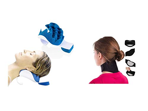 Fenstons Neck and Shoulder Fitness Bundle with Cervical Traction Massage Device and Self Heating Magnetic Neck Wrap Pads. For Pressure Relief and Pain Prevention. One Size Fits All. For Men and Women