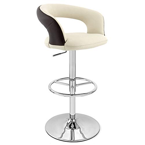Zuri Furniture Cream Seat with Brown Back Monza Adjustable Height Swivel Armless Bar Stool