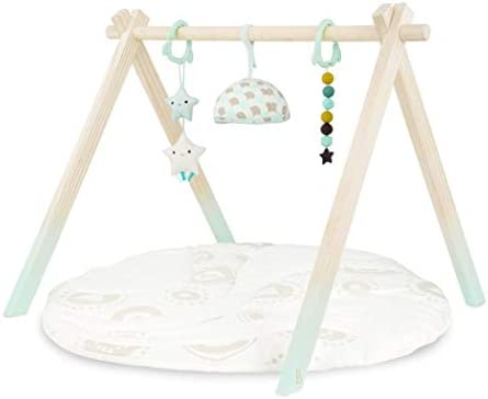 B toys Wooden Baby Play Gym Activity Mat Starry Sky 3 Hanging Sensory Toys Organic Cotton Natural product image