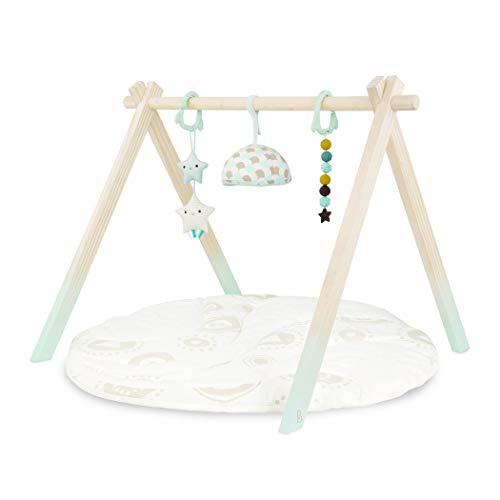 B. toys – Palestrina di legno per bimbi – Tappeto di gioco Starry Sky – 3 giocattoli sensoriali per neonati – Cotone biologico – Legno naturale – 0 mesi in su