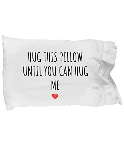 Hug This Pillow Until You can Hug me Pillow case Going Away Gift Long Distance Relationship Gift Dorm Room Pillow Dorm Gift Gift for Daughter College