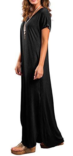 GRECERELLE Women's Casual Loose Pocket Long Dress Short Sleeve Split Maxi Dress Black XL