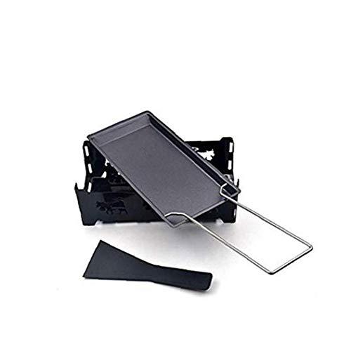 TOPofly Queso Suizo portátil Raclette, Queso sartén de Hierro Antiadherente Rachael Grill Rack Queso de fusión Bandeja climatizada Pan luz de Las Velas para la Barbacoa