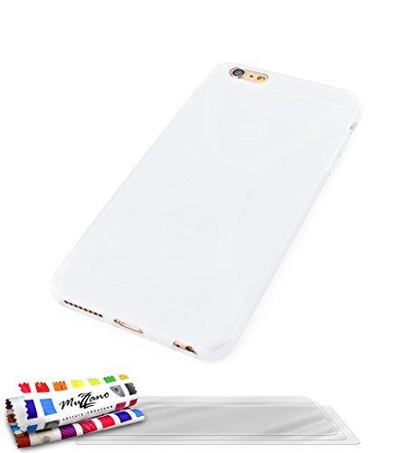 MUZZANO Original X-Cover Flessibile, con 3 pellicole Proteggi Schermo Ultra Trasparenti per Apple iPhone 6, Colore: Bianco