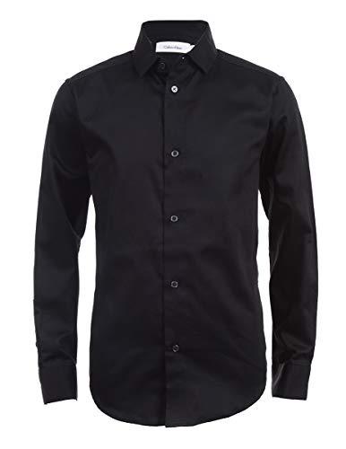 Calvin Klein Boys' Big Long Sleeve Sateen Dress Shirt, Black, 10