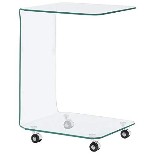 Tidyard Mesa de Centro Mesa Consola Mesas Auxiliares para Salon de Vidrio Blanco Mármol Templado