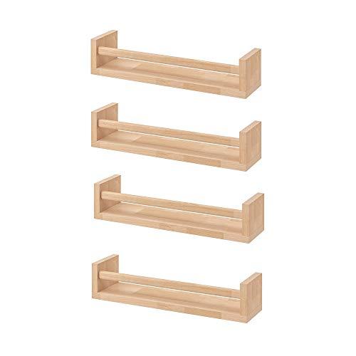 Ikea Bekvam,  4 estantes para especias de madera- cuarto del bebé - soporte de libros- niños- cocina- accesorios de baño,  estante de almacenamiento organizador, color abedul, madera natural.