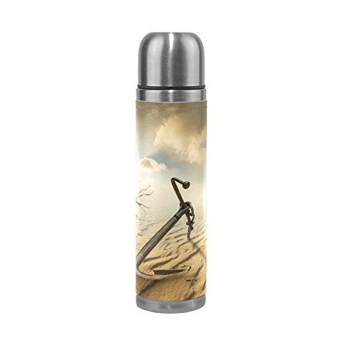 COOSUN Boot Anker In De Woestijn RVS Flasks Waterfles Vacuüm Geïsoleerde Beker Lek Bewijs Dubbele Vacuüm Fles, PU Lederen Reizen Thermische Mok, 17 oz