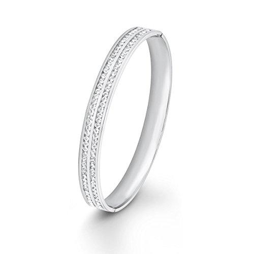 s.Oliver Damen-Armreif Swarovski Elements Edelstahl Kristall weiß 6.7 cm - 567466