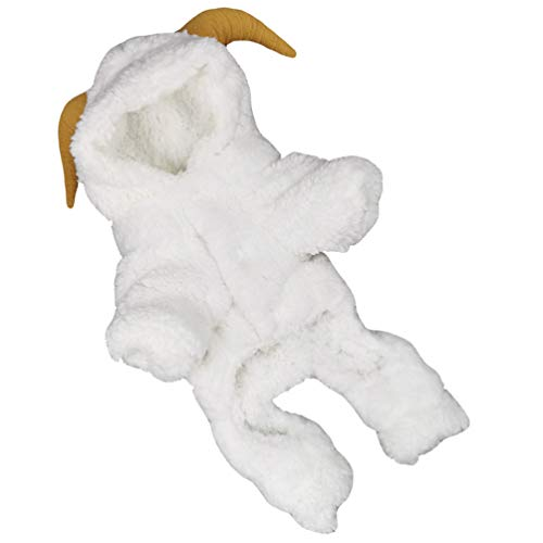 POPETPOP Disfraz de Mascota de Halloween Disfraz de Oveja Lindo para Perro Ropa de Felpa Cálida de Invierno Abrigo Sudadera con Capucha para Perro Pequeño Perrito (Blanco XL)