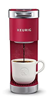 Keurig K-Mini Plus Maker Single Serve K-Cup Pod Coffee Brewer Comes with 6 to 12 Oz Brew Size Storage and Travel Mug Friendly Cardinal Red