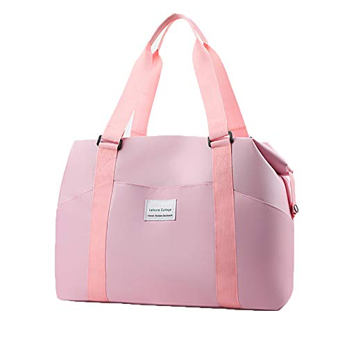Womens Travel Bags,Sports Gym Bag, Workout Duffel Bag, Weekender Carry On for Women, Overnight Shoulder Bag Fit 16 Inch Laptop (Pink)