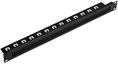 NavePoint 1U Rack Mount Cable Management Panel with Tidy Brush Slot for Cable Entry for 19-Inch Rack Or Cabinet Black