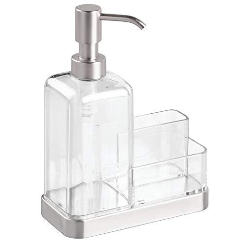 iDesign Forma 2 Dosificador jabón + Estropajo para Cocina, Plata, 7.2x15x20.3 cm