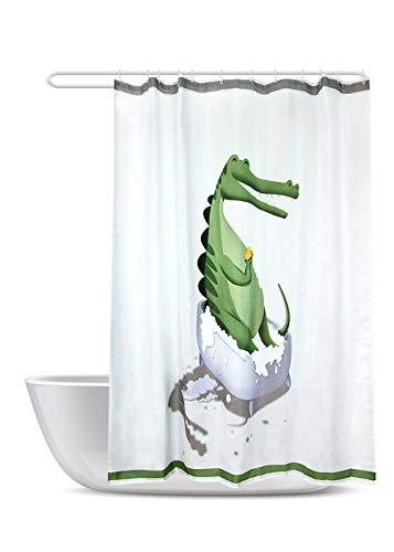 SUMGAR Dinosaurier-Duschvorhänge lustige Cartoon-Krokodil Badewanne mit Ente Badezimmervorhänge Tier grün weiß Badevorhänge aus Polyester wasserdicht mit 12 weißen Vorhangringen 180x180cm