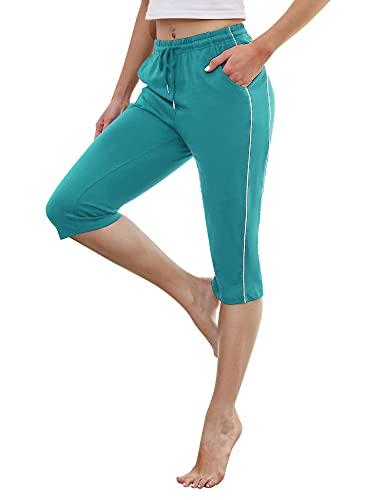Doaraha 3/4 Pantalones Deporte para Mujer Pantalon Piratas Casual Pantalones Capri con Cordón para Correr,Yoga,Correr,Fitness,Danza