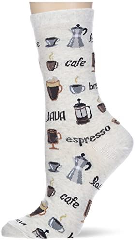 Hot Sox Women's Food and Drink Novelty Casual Crew Socks, Coffee (Natural Melange), Shoe Size: 4-10