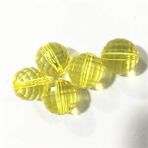 Calvas (Choose Size and Color) 10-20mm Clear Earth Bead Chunky Acrylic Beads,Chunky Beads for Necklace Jewelry!! - (Color: Yellow, Item Diameter: 18mm 140pcs per Bag)
