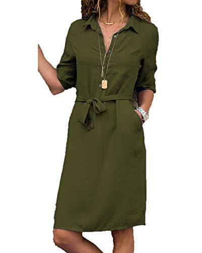kenoce Bluse Damen Langarmshirt Longshirt V-Ausschnitt Dreiviertelarm Shirt Kleid mit Gürtel Elegant Blusenkleid Herbstkleid Tunika A1-Grün M