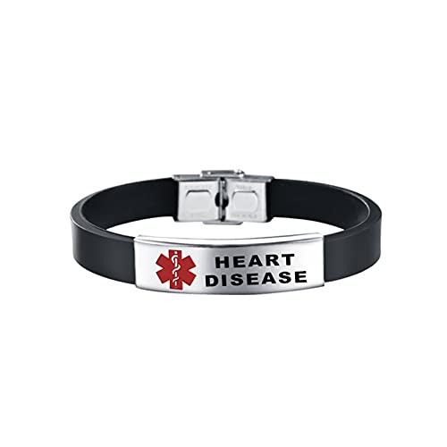 Hikiya Pulsera de ID de Alerta médica para Hombres Mujeres Ajustable Silicone SOS Pulseras Diabetes Brazaletes Joyería de Emergencia,Heart Disease