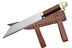 15.5 Inches overall Stainless steel blade Wood handle with brass studs
