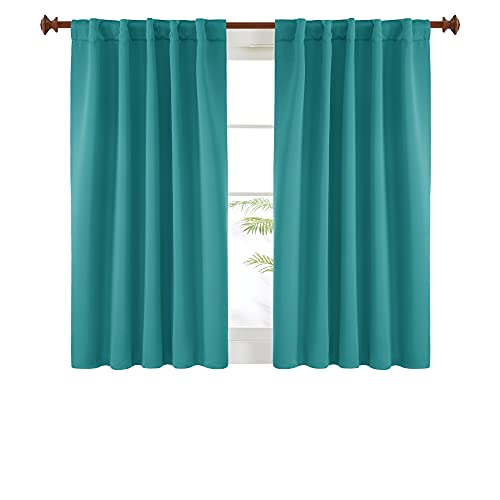 Deconovo Short Blackout Curtains for Kitchen Windows - Turquoise, 2 Panels, Rod Pocket and Back Tab Blackout Curtains 42x45 Inch