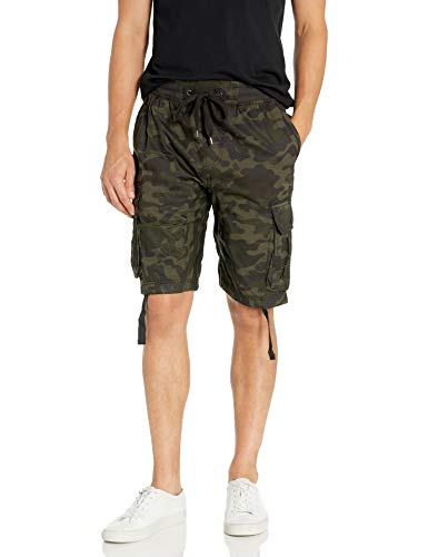 Southpole Big and Tall Men's Jogger Shorts with Cargo Pockets in Solid and Camo Colors, Woodland(New), 5X-Large