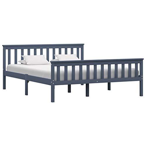 vidaXL Madera Maciza de Pino Estructura de Cama Matrimonio Doble Gris 160x200 cm Somier Muebles de Dormitorio Habitación