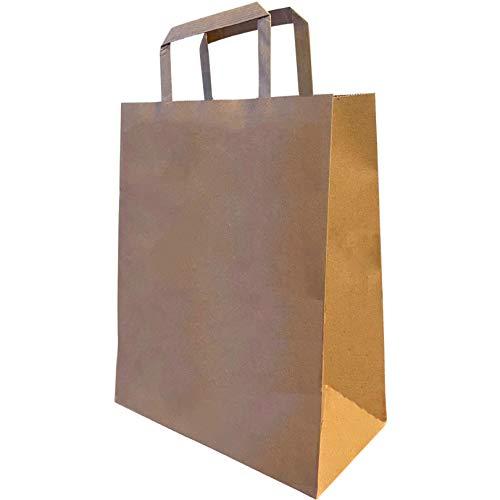 Bolsas de Papel Kraft con Asas Ultra-Resistentes (Pack 50) Tamaño Ideal (21x11x27cm) Grande Calidad (120g/m2) Reutilizable Reciclable para Regalo