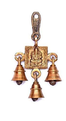 shubh labh Dios Ganesha/Ganesha pared colgantes con campanas latón metal para puerta Decor, Shri Ganesh-3Bells