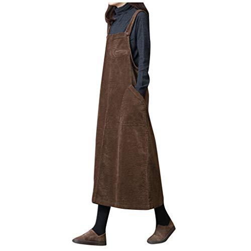 Sannysis Latzkleider Damen Solid Mode Cord Kleider Arbeitkleider Frauen Freizeit Lang Maxikleider Kord Straps Ärmellos Tasche Casual Tank Top Umstandskleid Jeanskleid (XXL, Kaffee)