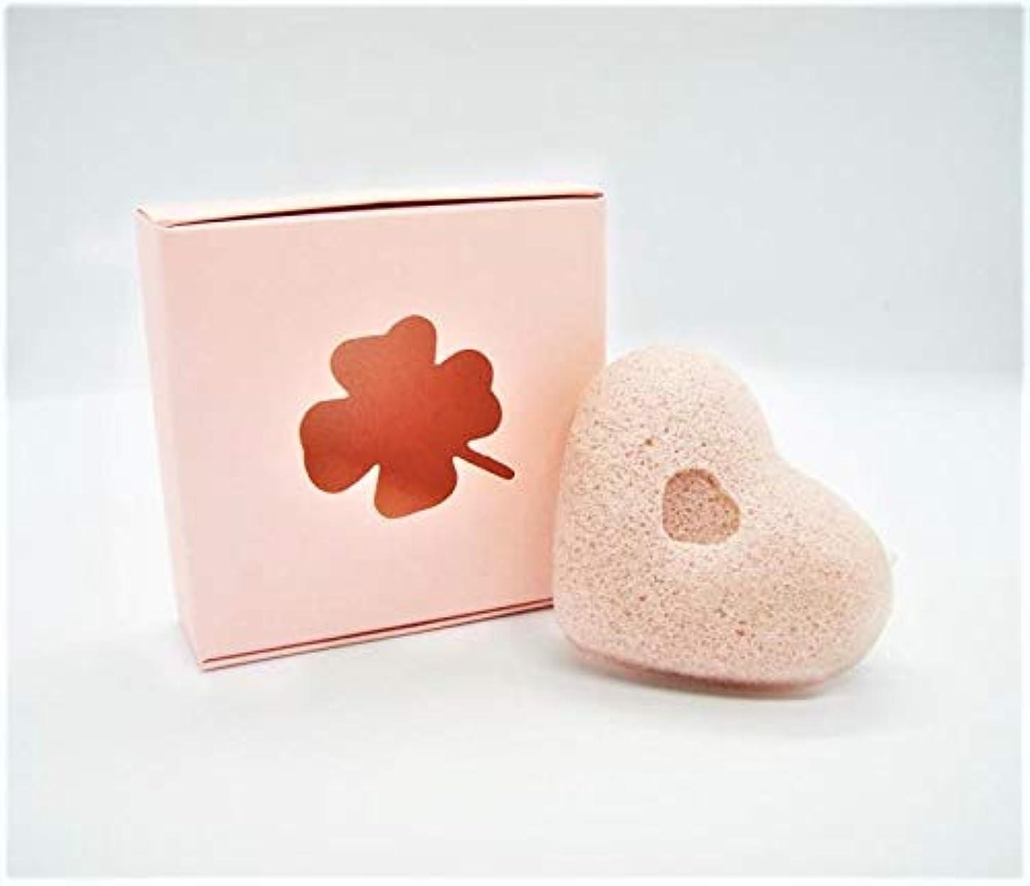 威する巡礼者エイリアンこんにゃくスポンジ 蒟蒻から天然植物性繊維 心形 洗顔用 三色 (ピンク) 送料無料