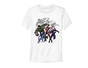 Marvel Mens Comics Avengers Shirt - Spiderman Ironman Captain America & Hulk Tee - Throwback Classic T-Shirt  White Action Medium