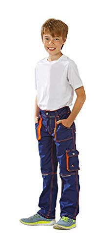 Planam Junior Bundhose, bleumarine/orange, 98/104