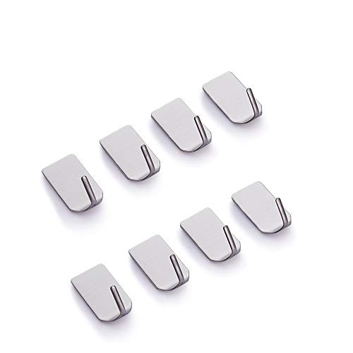 8 pcs Self Adhesive Hooks, Stainless Steel Hooks for Kitchen Bathrooms, Stainless Steel Sticky Wall Hooks, Stainless Steel Hanger for Robe, Coat, Towel, Keys, Bags, Home, No Drill Glue Needed