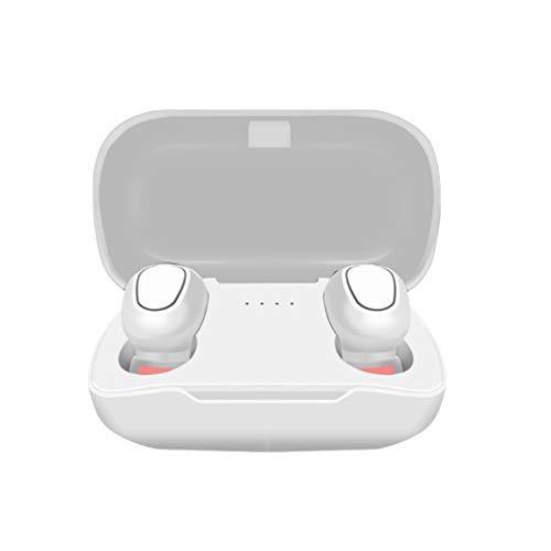 Junio1 - Auriculares in-Ear con Bluetooth, estéreo, inalámbricos, con Funda de Carga, Auriculares Bluetooth, Blanco, Talla única