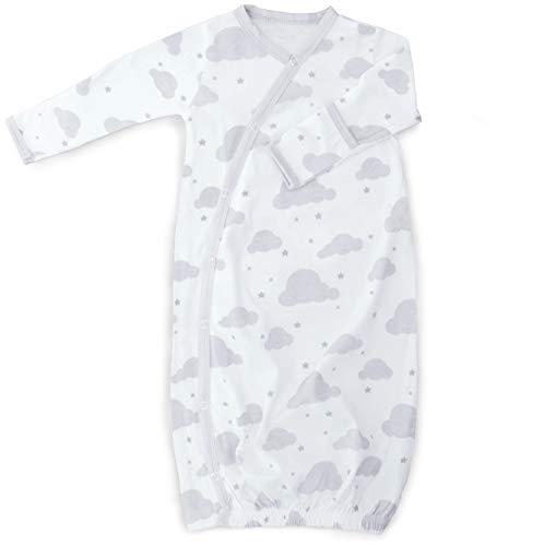 Cambria Baby Kimono 100% algodón orgánico para niño y niña con broches de Cambio fácil y Guantes Integrados, Nubes Grises y Blancas/Animales, Gris Blanco, 0-3 Mo Animals