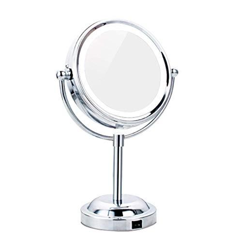 Mnjin Badezimmerspiegel Leuchtender Kosmetikspiegel LED Leuchtender dreifacher...
