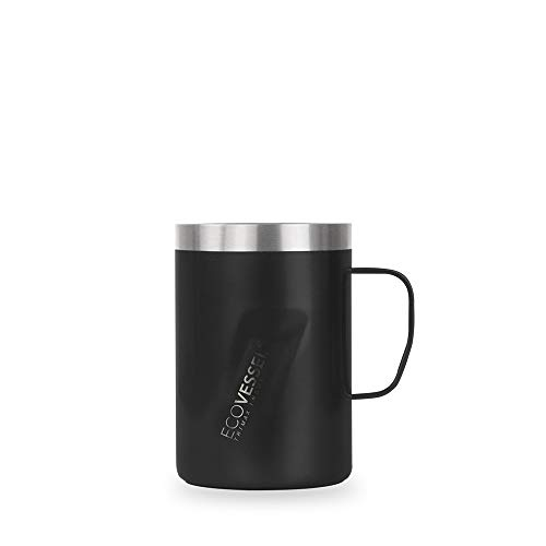 EcoVessel Transit Travel Coffee Mug with Slider Lid & Ergonomic Handle, Trimax Insulated Stainless Steel Beer Stein (12oz Black) Travel Whiskey Glass, Country Travel Mug or a Moscow Mule Tumbler Cup