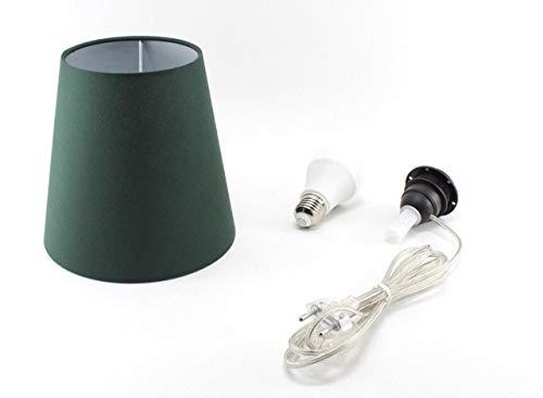Kit Completo Paralume Verde + Adattatore portalampada E27 con filo e interruttore trasparente - Lampada Led A+ in omaggio! Trasforma una bottiglia in lampada! Lampabottiglia.it