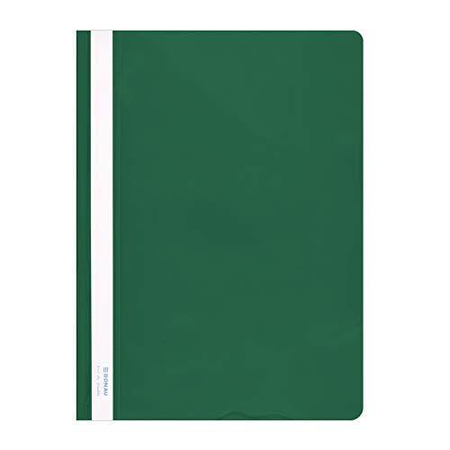 DONAU 1705001PL-06 Plastik Schnellhefter A4 Grün, Sichthefter Kunststoff Strapazierfähigem PVC Hart Glasklares Deckblatt, für Büro und Schule, Fassungsvermögen ca. 200 Blatt | 10er Pack