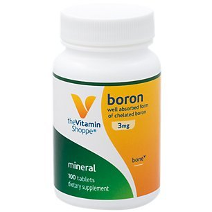 The Vitamin Shoppe Boron 3MG, Well Absorbed Form of Chelated Boron, Mineral for Bone Support (100 Tablets)