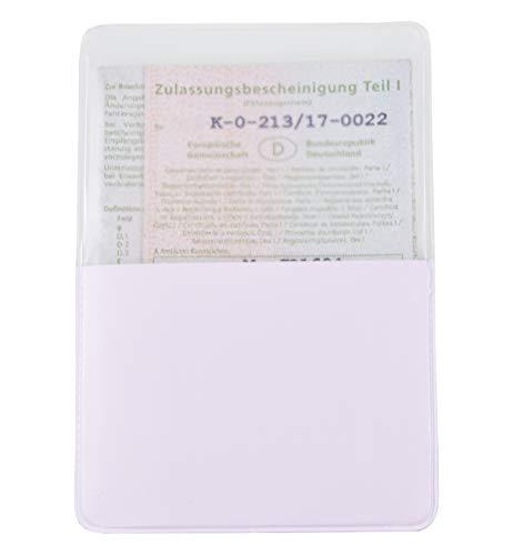 KFZ Schein Schutzhülle 1 Fach Made in Germany Etui Mappe Kartenhülle Fahrzeugschein Hülle (Weiß)