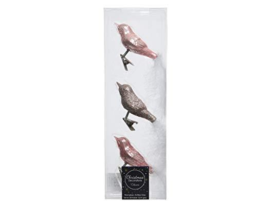 Decoris 120910- Vögel aus Glas, Rosa Perle, mit Weihnachtsdekoration, 3 Stück