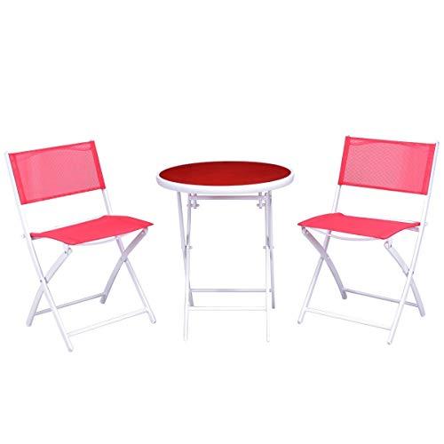 7DIPT 3 Pcs Folding Garden Patio Table Chairs Set (red)