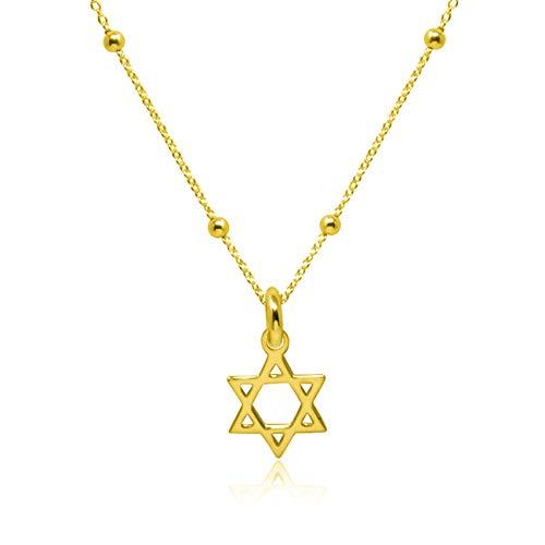 WANDA PLATA Collar con Colgante Estrella de David para Mujer Plata de Ley 925 con Baño de Oro, Gargantilla, Choker, Mini Estrella en Caja de Regalo
