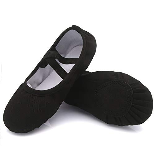 Ballett Schuhe Mädchen mit Geteilte Sohle Ballettschläppchen Damen Antirutsch Gymnastikschuhe Kinder Faltbare Schläppchen Weich Tanzschuhe Frauen Leinen Ballerina Schuhe Schwarz 40