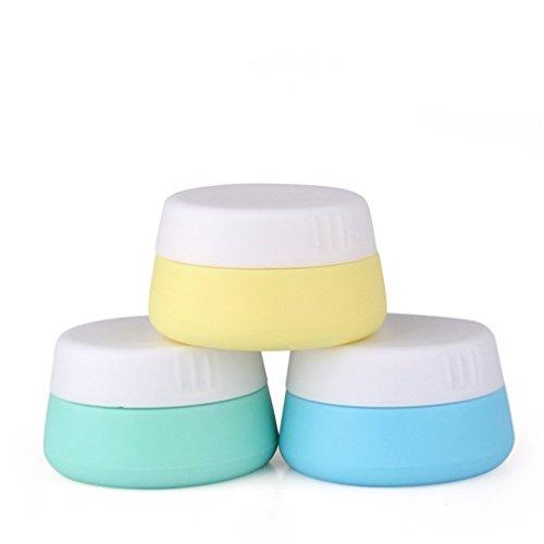 Pure Vie 10 ml Silikon kosmetische Creme Behalter Reise Flaschen Set mit verschlossenen Deckeln, Pack 3