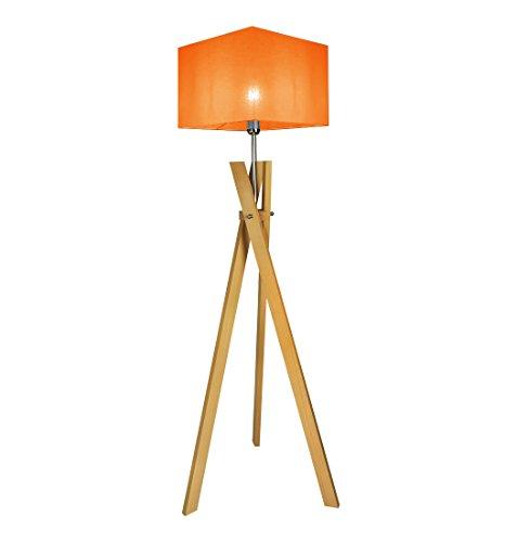Stehlampe Stehleuchte HausLeuchten SL5ORD-BUCHE aus Massivholz Deckenfluter Standleuchte (ORANGE)